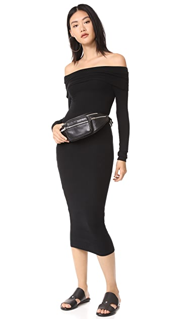 GETTING BACK TO SQUARE ONE Off Shoulder Rib Dress