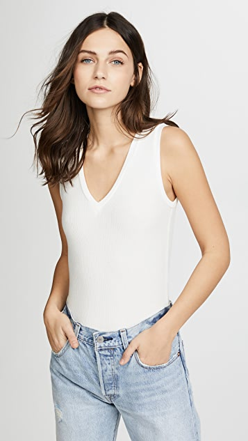 GETTING BACK TO SQUARE ONE V Neck Sleeveless Bodysuit