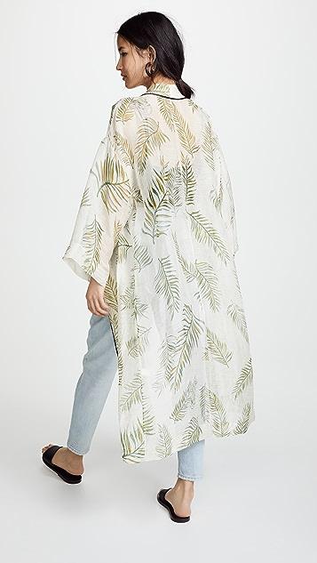 Forte Forte Desert Leaf Print Slubbed Voile Gown