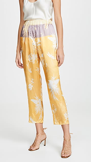 Forte Forte Bouganvilla Print Twill Pants with Elastic