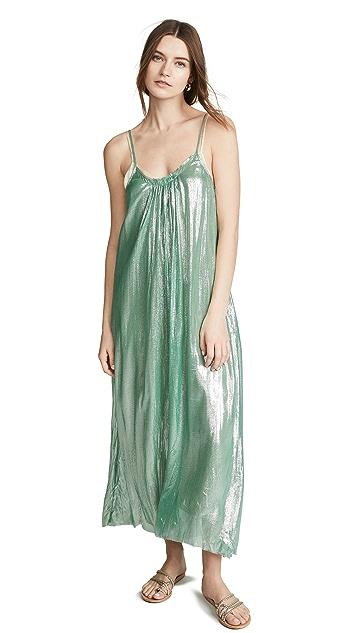Forte Forte Шелковое платье из металлизированного шифона с бретельками