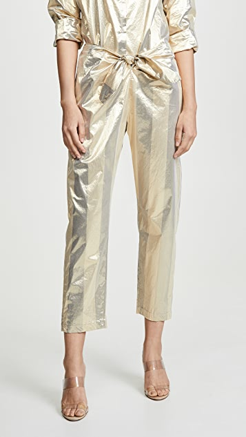 Forte Forte Metallic Chic Stripe Pants with Knot - Lilla