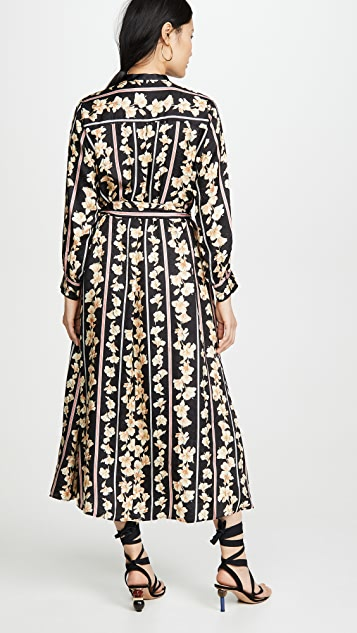 Forte Forte Guadaloupe 印花飘逸提花织物系腰带开襟连衣裙