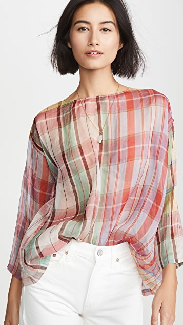 Forte Forte 格子透明硬纱真丝衬衣