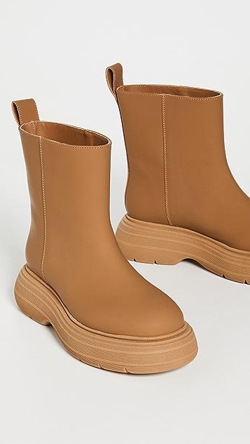 Gia Borghini Marte Short Leather Boots With Chunky Sole