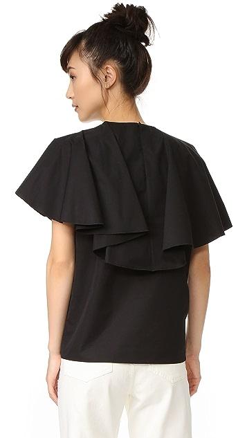 Giambattista Valli Ruffled Short Sleeve Blouse