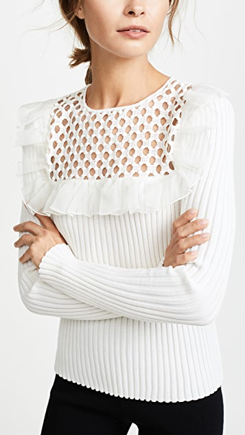 Giambattista Valli Knit Top with Lace Insert