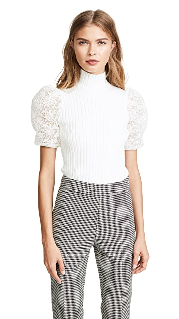 Giambattista Valli Jersey Knit Top with Puff Sleeves