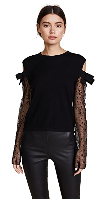 Giambattista Valli Knit Cashmere Sweater with Mesh Sleeves