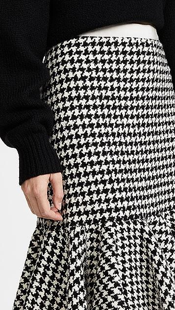 Giambattista Valli Flounce Hem Houndstooth Skirt