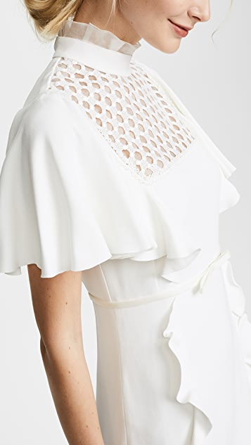 Giambattista Valli High Neck Ruffle Trim Dress