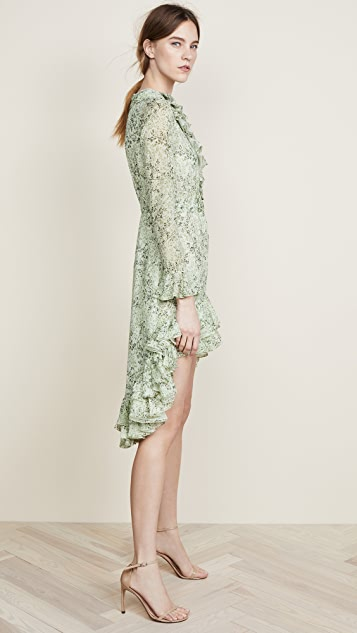 Giambattista Valli Print Sheer Mini Dress with Ruffle Hem