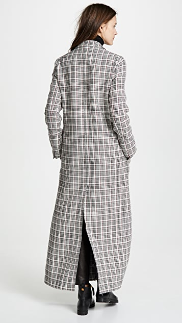Giambattista Valli Plaid Long Wool Coat