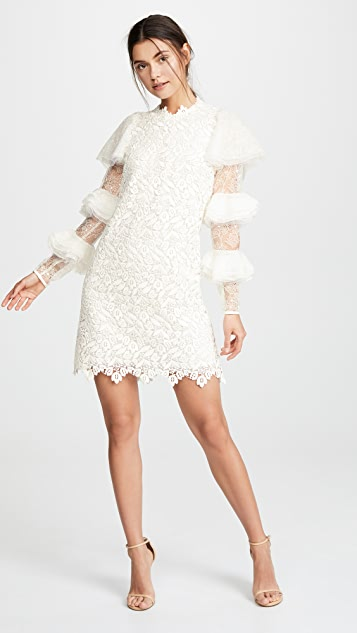 Giambattista Valli Riffle Sleeve Lace Dress