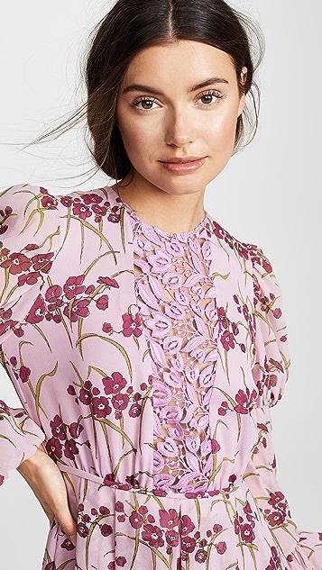 Giambattista Valli Платье с цветочным рисунком с объемными рукавами