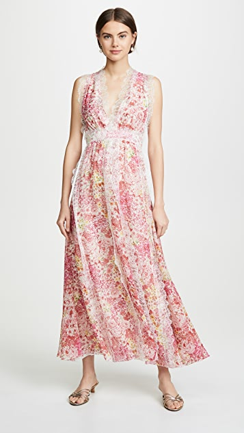 Giambattista Valli V Neck Floral Maxi Dress