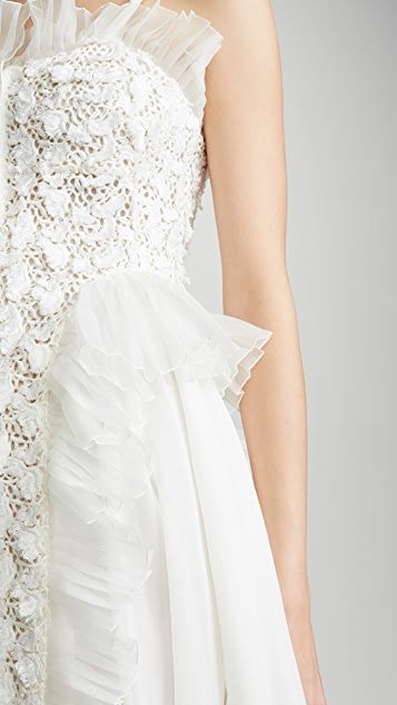Giambattista Valli Button Down Tulle Trim Dress