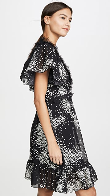 Giambattista Valli V Neck Frill Shoulder Dress