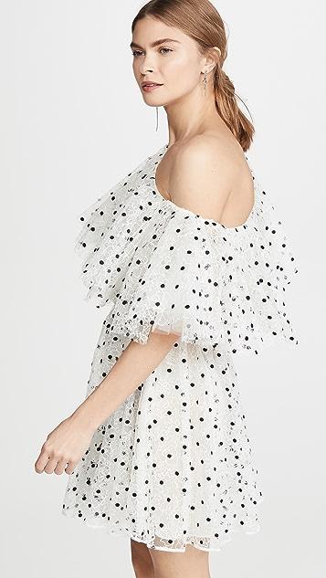 Giambattista Valli One Shoulder Tulle Polka Dot Mini Dress