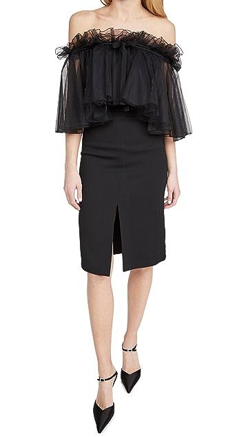 Giambattista Valli Strapless Tulle Midi Dress