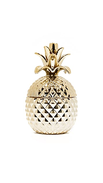 Gift Boutique Golden Hospitality Set of 2 Pineapple Jars