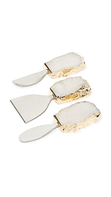 Gift Boutique Kiva Cheese Set - Crystal/Gold