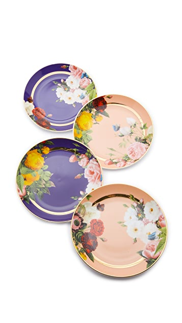 Gift Boutique Floral Appetizer Plates Set of Four