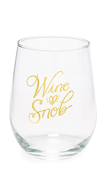 Gift Boutique Wine Snob Stemless Wine Glass