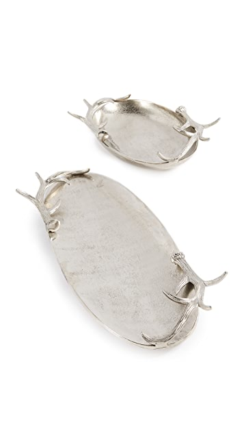 Gift Boutique Antler Decorative Tray Set of 2