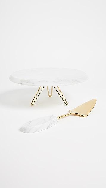 Gift Boutique Torta Serving Set - Carrara Gold