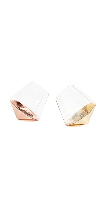 Gift Boutique Set of 2 Diamond Glasses - Gold/Rose