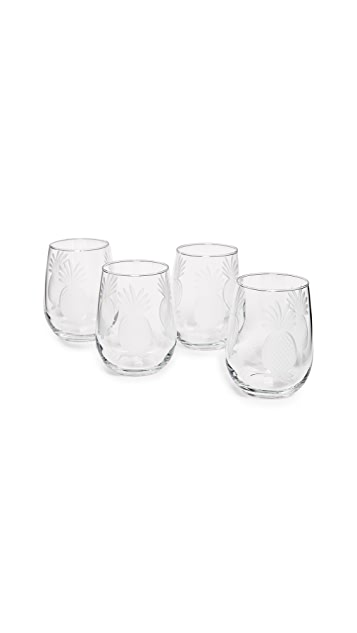 Gift Boutique Pineapple Stemless Wine Glass Set of Four