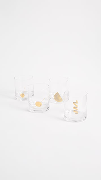 Gift Boutique Garnish Glasses Set of 4