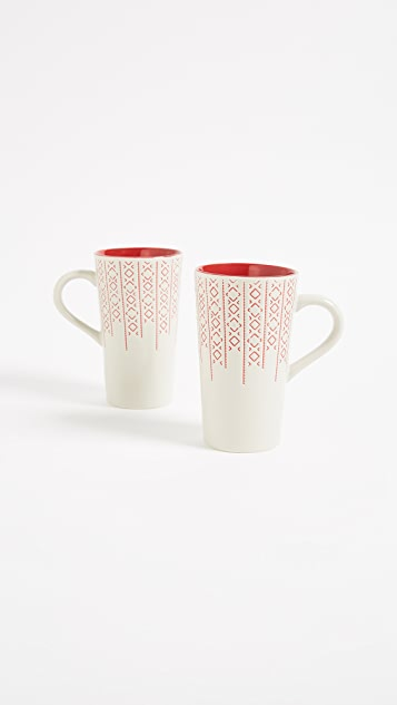 Gift Boutique Latte Mug Set of Two - Red
