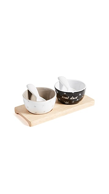 Gift Boutique Snowflakes & Coal Dust Pinch Pots Set
