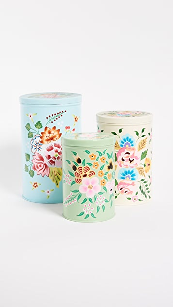 Gift Boutique Handpainted Nesting Canisters Set - Multi