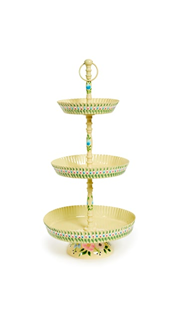 Gift Boutique Hand Painted Pastry Triple Tiered Stand