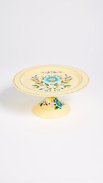 Gift Boutique Floral Cake Platter - Soft Yellow