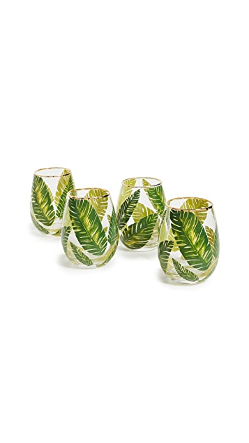 Gift Boutique Botanical Leaf Stemless Wine Glasses