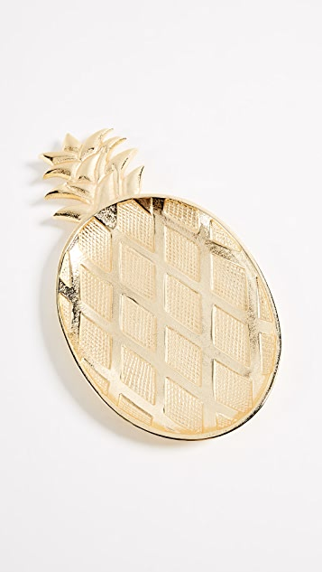 Gift Boutique Large Pineapple Tray - Gold Pineapple