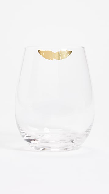 Gift Boutique Kiss Stemless Wine Glass - Gold