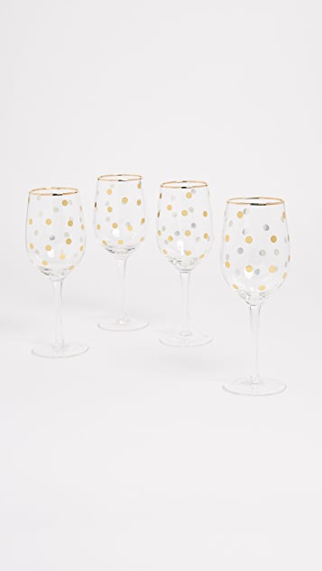 Gift Boutique Dot Wine Glass Set of 4 - Gold Dot