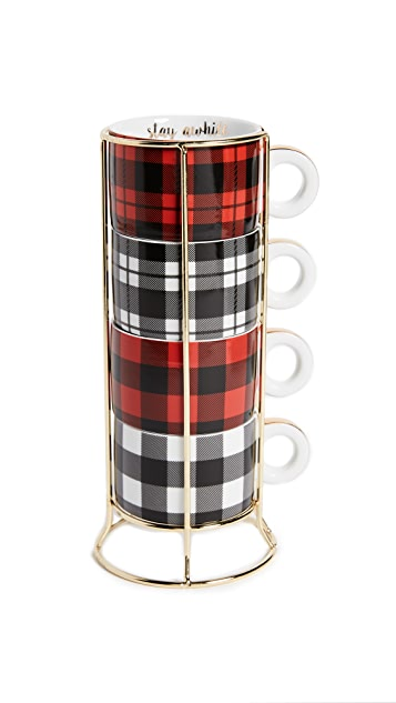 Gift Boutique Buffalo Check Mug Tower