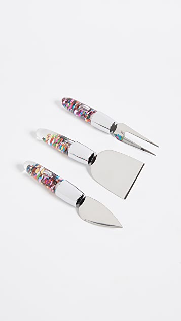 Gift Boutique Floating Confetti Cheese Knives Set - Multi