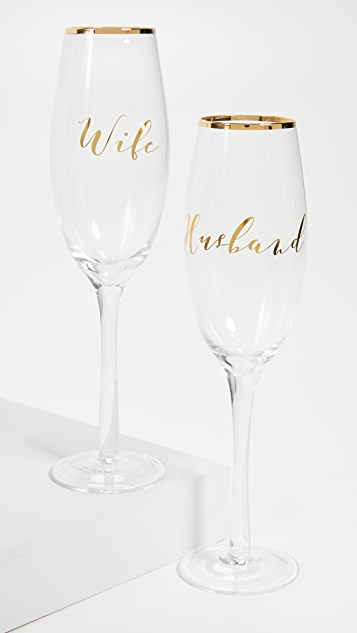 Gift Boutique Husband & Wife Champagne Glasses