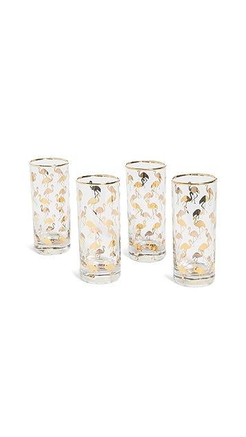 Gift Boutique Набор из четырех бокалов с изображением фламинго