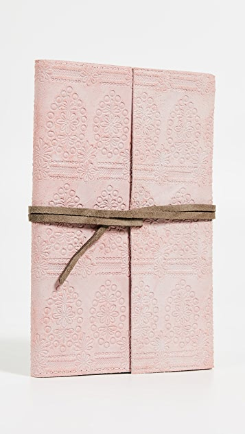 Gift Boutique Floor 9 Blush Embroidered Suede Journal
