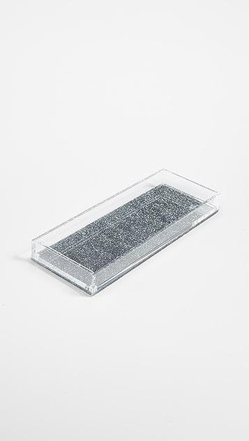 Gift Boutique Tara Wilson Design Glitter Vanity Tray - Silver Glitter