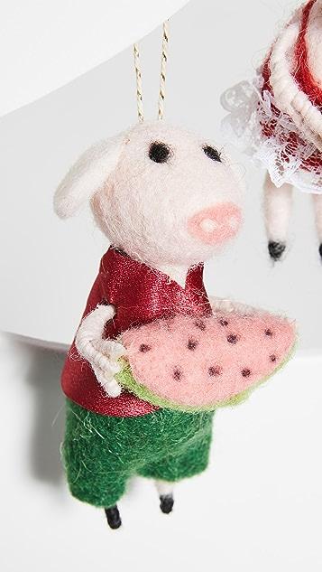 Gift Boutique Watermelon Pigs Ornaments