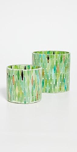 Gift Boutique - Verte Set of 2 Mosaic Tealight Candle Votives